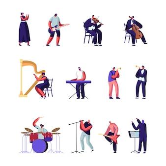 クラシックおよびポピュラー音楽アーティストセット。漫画フラットイラスト
