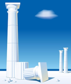 Classical antic columns on the shore