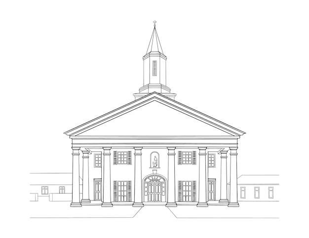 古典的な建築。歴史的建造物のスケッチアート、白黒の会場。