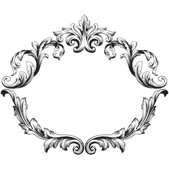デザインのヴィンテージ要素のクラシックバロック。装飾的なデザイン要素フィリグリー書道。