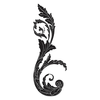 Классический барочный орнамент. декоративный элемент дизайна филигрань.