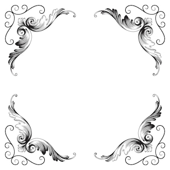 クラシックバロック飾り。装飾的なデザイン要素のフィリグリー。