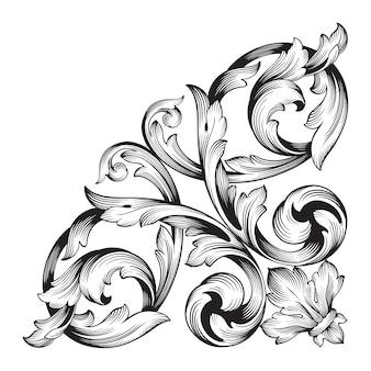 古典的なバロック装飾。装飾的なデザイン要素のフィリグリー。