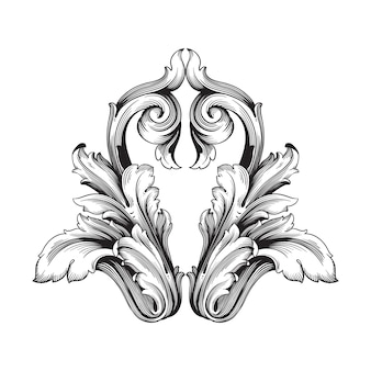 Classical baroque   of vintage element  . decorative design element filigree calligraphy  .