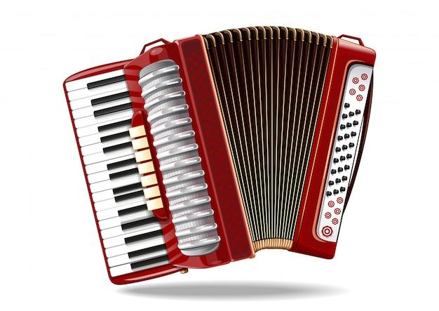 Classical bayan, accordion, harmonic, jews-harp. musical instrument. illustration