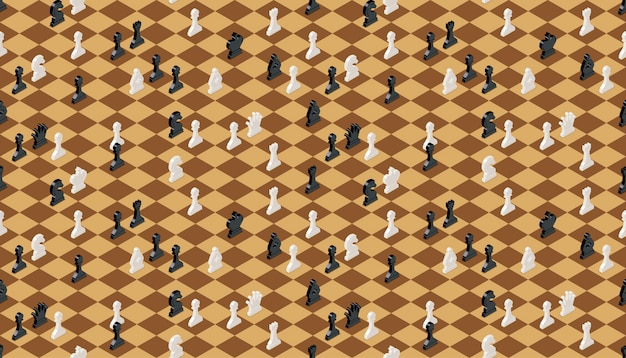 Classical chessboard with chess figures, seamless pattern