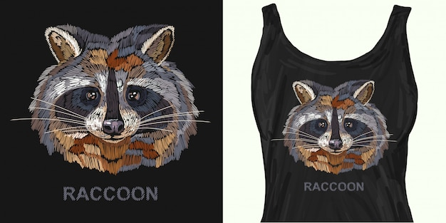 Classical embroidery portrait of funny raccoon
