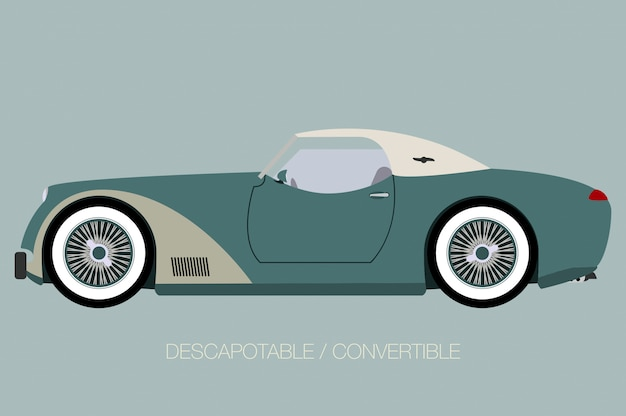 Classical european car, side view of car, automobile, motor vehicle