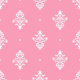Classical luxury damask ornament. vintage pink, seamless pattern, background vector illustration