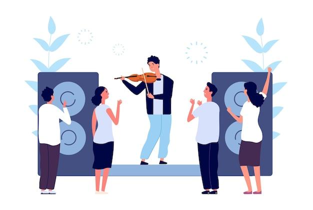 Концерт классической музыки. выступление музыканта-скрипача. люди слушают звук скрипки. векторная иллюстрация оркестра вечерних развлечений. мюзикл для скрипачей, классика исполнения музыкантов