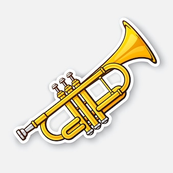 Classical music wind instrument trumpet rock or jazz equipment vector illustration