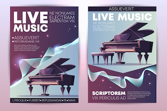 Classical or jazz music festival, symphonic orchestra live concert, piano virtuoso performance