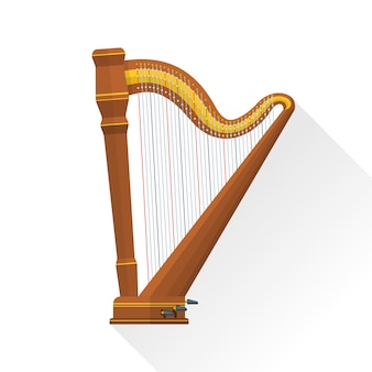 Classical orchestral pedal harp on white