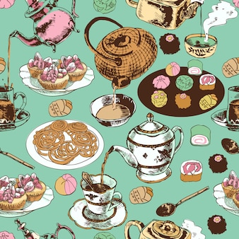 Classical oriental indian tea time ritual ceramic pot teacup saucer cupcakes wrap paper seamless pattern vector illustration