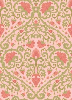 벽지 핑크 꽃과 클래식 패턴입니다.