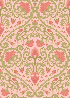 Classical pattern with pink flowers for wallpaper.