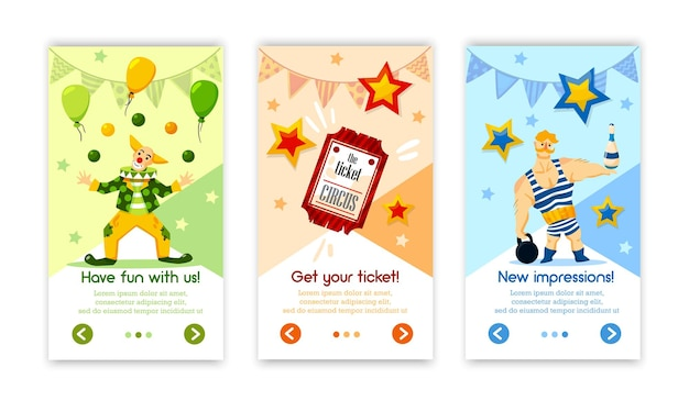 Classical retro circus performance tickets online vertical banners with balloons clown strongman isolated