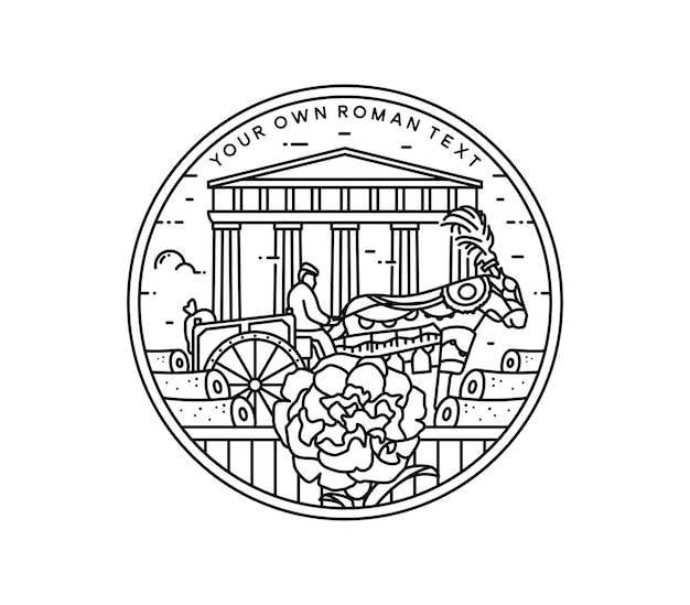 Classical roman society with building and carnation flower