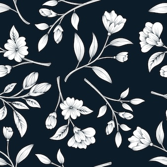식물 꽃 디자인으로 클래식 원활한 패턴