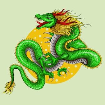 古典的なスタイルの緑のデザインの伝統的なドラゴンのイラスト