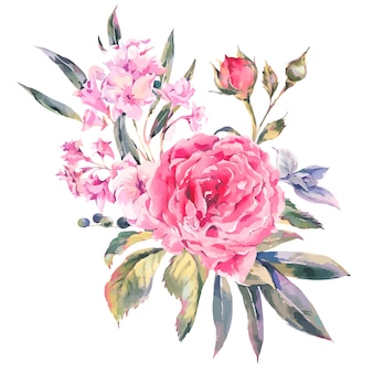 Classical vintage floral greeting card, natural bouquet of roses