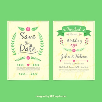 Classical wedding invitation with flat design