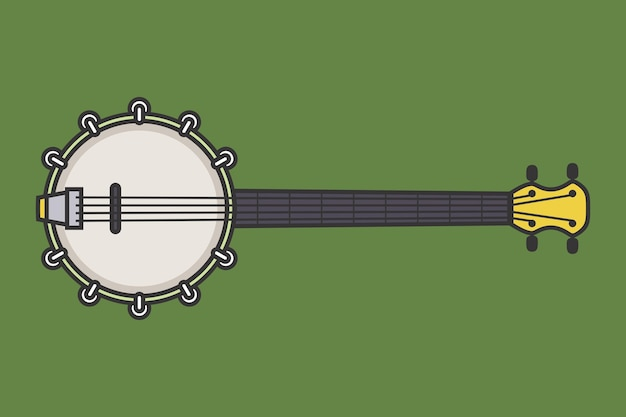 클래식 나무 기타 문자열 뽑아 악기 작은 어쿠스틱 기타 벡터