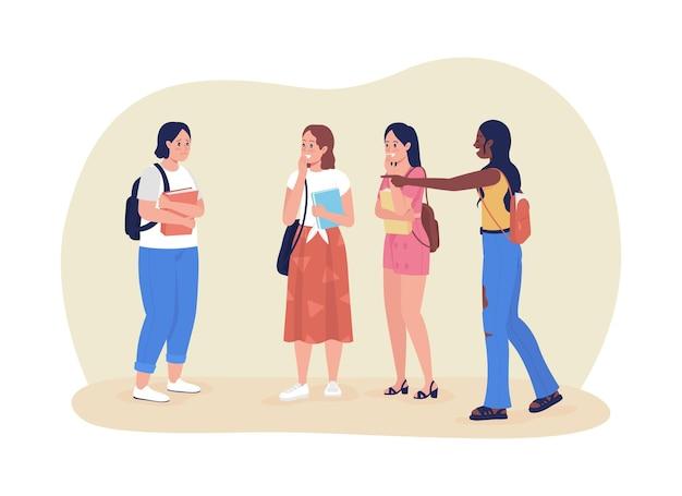 Classmates bullies 2d vector isolated illustration