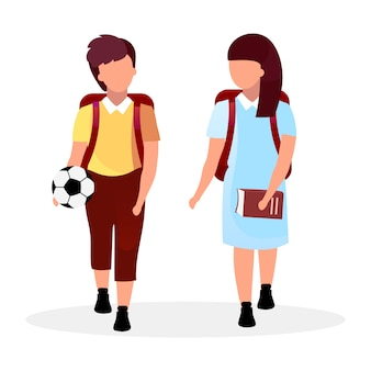 Classmates flat vector illustration. schoolboy and schoolgirl with backpacks cartoon characters isolated on white. preteen schoolchildren going to school, home. girl with book and boy with ball