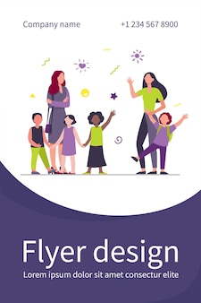 Classmates meeting at school. mom leading son, group of school children with teacher flat illustration. flyer template