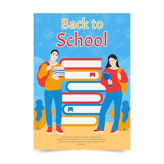 Classmates and pile of books back to school card template