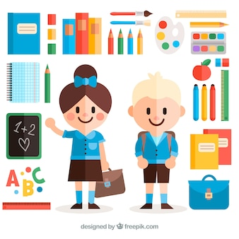 Classmates surrounded by school materias with flat design