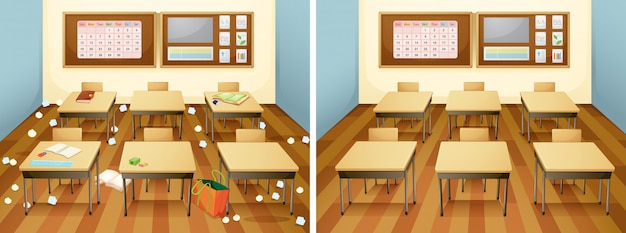 A classroom before and after clean