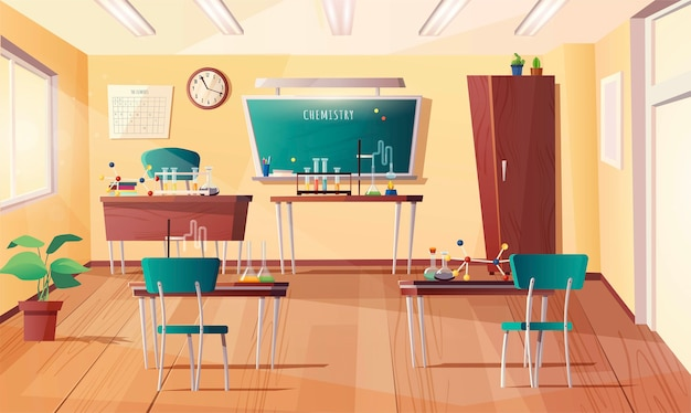 Classroom for chemistry subject. cartoon interior with chalkboard, clock on the wall, desks, teacher table, books, test tubes, equipment for experiments, flasks.