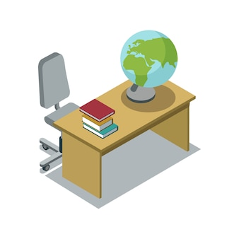 Classroom desk with textbook isometric illustration