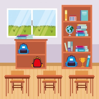 Classroom furniture cartoon