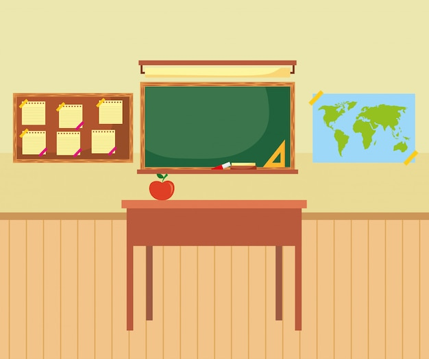 Classroom furniture with chalkboard