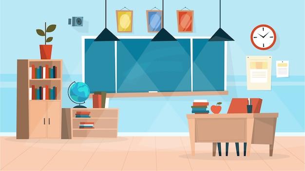 教室のインテリア。黒板と先生の机