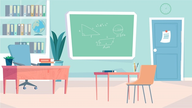 Classroom interior concept in flat cartoon design teacher and student workplaces classroom with blac...