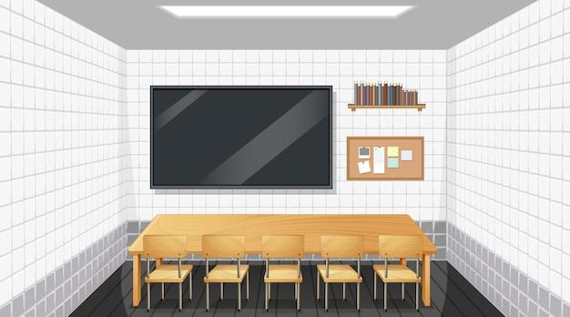 Дизайн интерьера классной комнаты с мебелью и декором