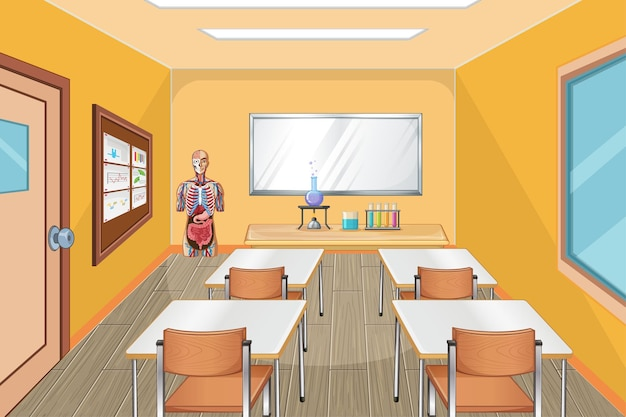 Classroom interior design with furniture and decoration