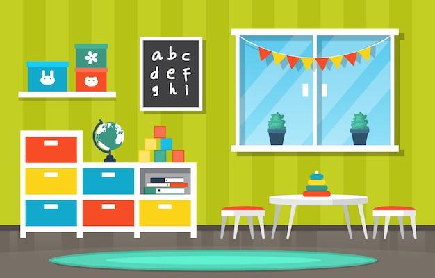 Classroom interior education elementary kindergarten children school illustration