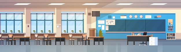 Classroom interior empty school class with board and desks