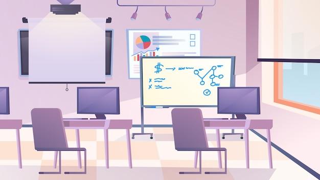 Classroom interior flat cartoon style illustration of web background