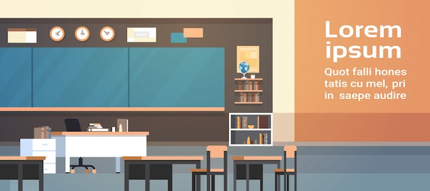 Classroom interior illustration. empty school class with board and desks. text template