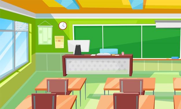 Classroom interior, room with desks and blackboard