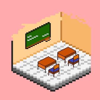 Classroom isometric with pixel art style