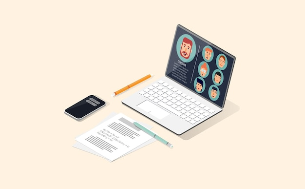 아이소메트릭 뷰에서 노트북이 있는 온라인 교실