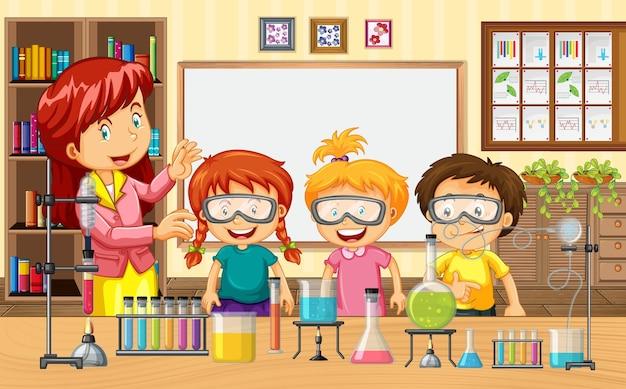 Сцена в классе с учителем и детьми, проводящими научный эксперимент