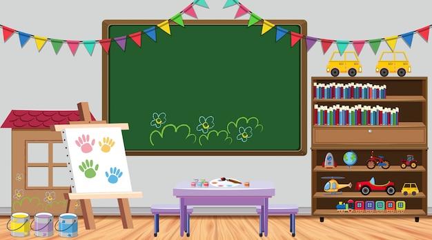 Classroom scene with board and bookshelf